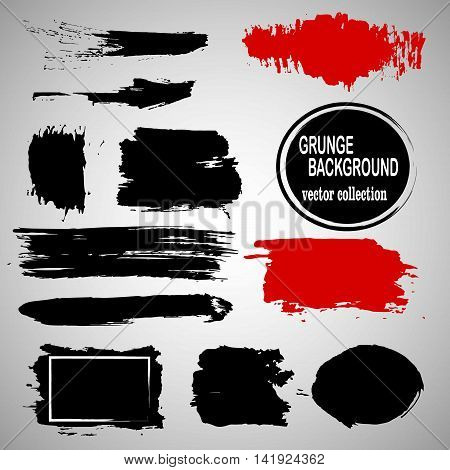 Set of hand drawn brushes and design elements. Black paint, ink brush strokes, splatters. Artistic creative shapes. Vector illustration. Black and red.