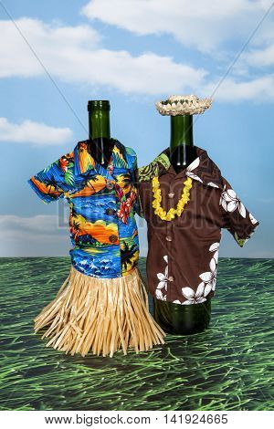 A tropical themed wine bottle cover still life