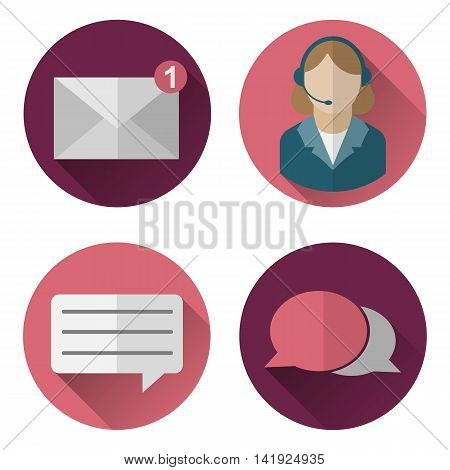 Set of vector icons for web site online store office. Chat technical support e-mail communication.