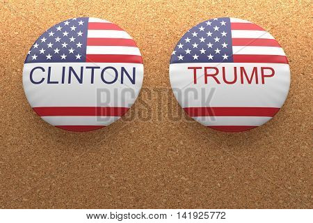 BERLIN, GERMANY - AUGUST 9, 2016: US Presidential Election 2016: Clinton And Trump Badges On Cork 3d illustration