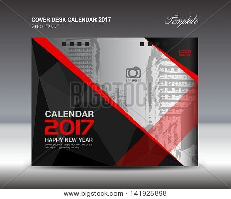 Desk Calendar for 2017 Year, Black and red Cover Desk Calendar, leaflet, vector, Brochure flyer, poster, advertisement, book