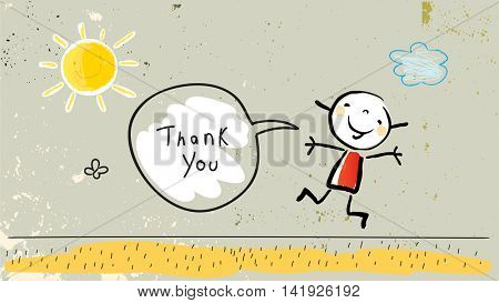 Kids thank you card vector illustration. Jumping child saying thank you in a speech balloon. Sketch, scribble style doodle.