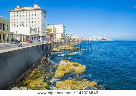 HAVANA CUBA - JULY 18 : Seascape of Havana Cuba on July 18 2016. The historic center of Havana is UNESCO World Heritage Site since 1982.