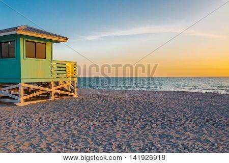 Lifeguard Tower in Venice Beach Florida at sunset
