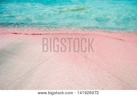 Elafonissi Lagoon, Crete Island, Greece. There are pink and black sand.