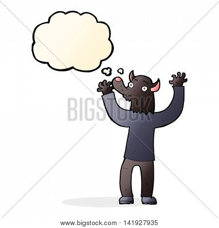 cartoon happy werewolf man with thought bubble