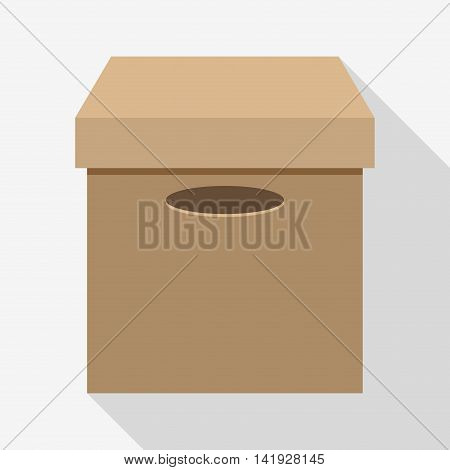 carton box package close delivery shipping logistic icon. Isolated and Brown illustration. Vector graphic