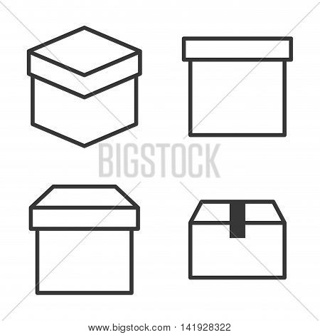 carton box package delivery shipping logistic icon set. Isolated and Silhouette illustration. Vector graphic
