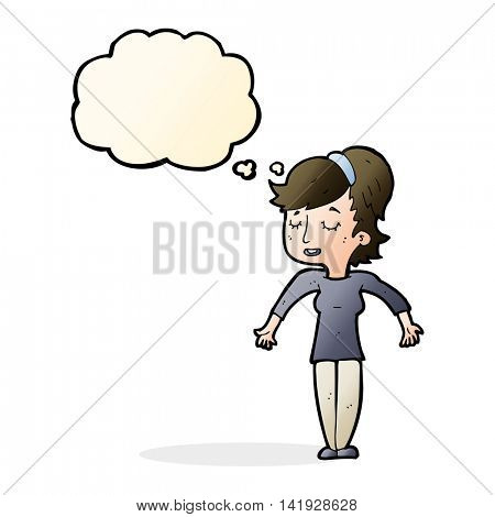 cartoon friendly woman shrugging shoulders with thought bubble