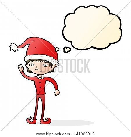 cartoon waving christmas elf with thought bubble
