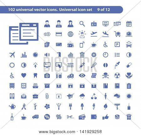 102 universal vector icons. The icon set includes User and Office, Sound and Settings, Box and Furniture, Gardening symbols