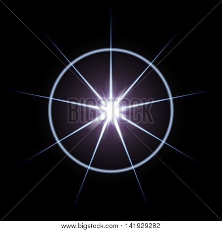 The eight pointed blue star and a large band of light around.