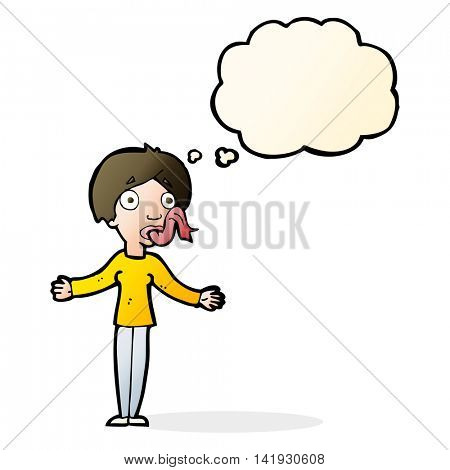 cartoon woman telling lies with thought bubble