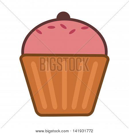 flat design single muffin icon vector illustration