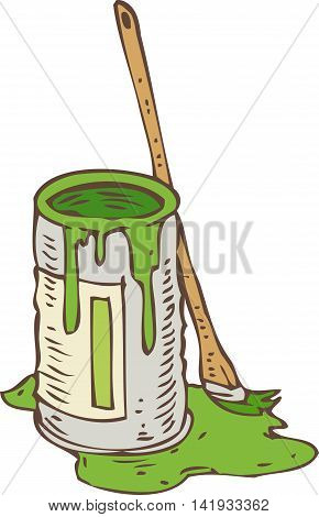 Tin Can of Green Paint and Paintbrush Isolated on a White
