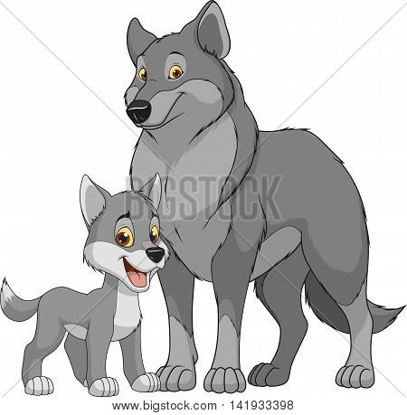 Vector illustration funny exotic animal wolf family