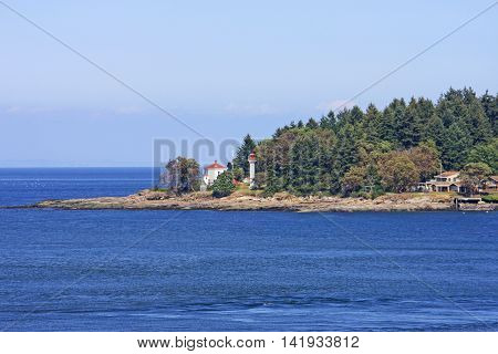 Coast of a gulf island in the Georgia Strait, Canada