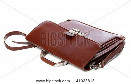 Leather brown briefcase isolated on white background