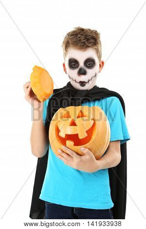 Little Boy In Halloween Costume With Pumpkin On White Background