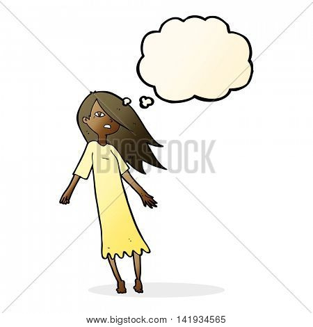 cartoon ghost like girl with thought bubble