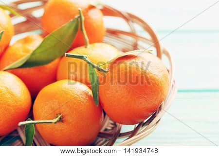 Ripe Mandarin On A Mint Wooden Table