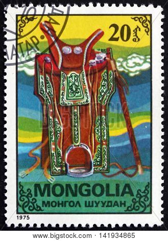 MONGOLIA - CIRCA 1975: a stamp printed in Mongolia shows Saddle National Handicraft circa 1975