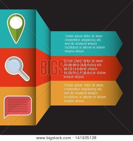 gps lupe bubble infographic step office icon. Flat and Colorfull illustration. Vector graphic
