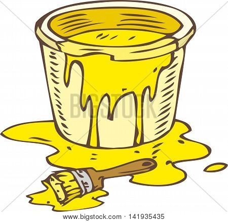 Tin Can of Yellow Paint and Paintbrush Isolated on a White