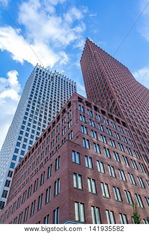 The Hague the Netherlands - August 08 2016: tall buildings in The Hague