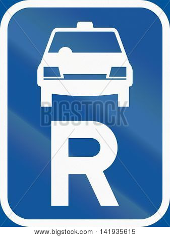 Road Sign Used In The African Country Of Botswana - Reservation For Taxis