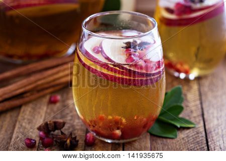 White sangria with apple cider - fall refreshing drink
