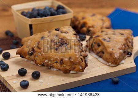 Blueberry Scones with Lemon Glaze. Selective focus.