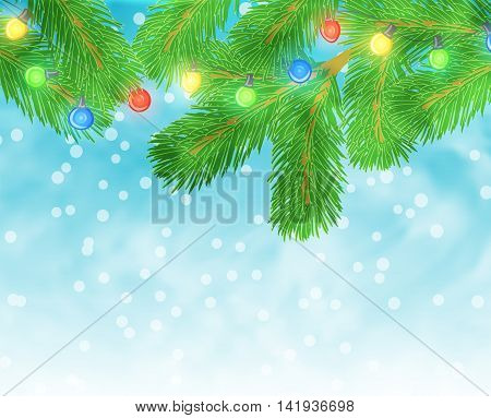 Christmas illustration with pine branch and light bulbs on blue textured background