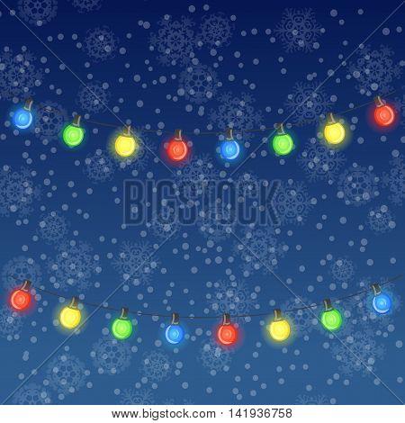 Vector winter illustration of glowing light bulbs on dark blue snowfall background