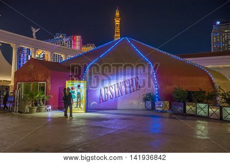 LAS VEGAS - JUNE 22 : The Absinthe theatre at the Las Vegas strip on June 22 2016. Absinthe is a live show that premiered in 2006 and is playing on the forecourt of Caesars Palace Las Vegas
