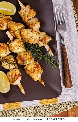 Chicken Dinner Kebab or Kabob Skewers. Selective focus.