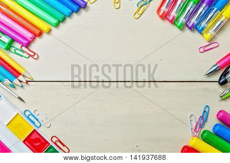 Desk With School Supplies Against, Copy Space