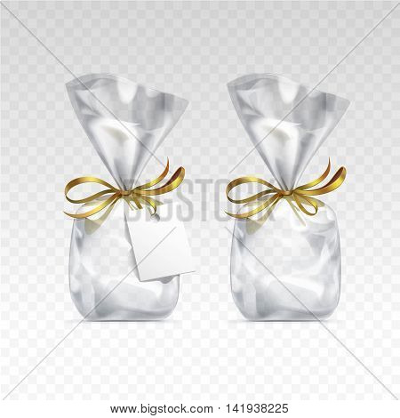 Vector Empty Transparent plastic gift bags for package design with golden ribbons and blank white label Close up Isolated on Transparent  Background