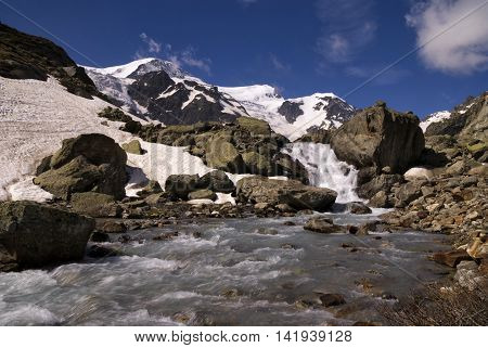 Steinwasser brook on the Susten pass in Switzerland