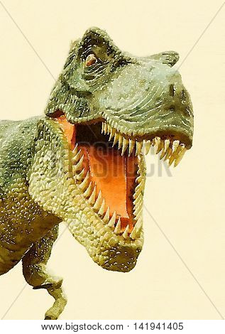 Digital watercolour of angry T-Rex dinosaur