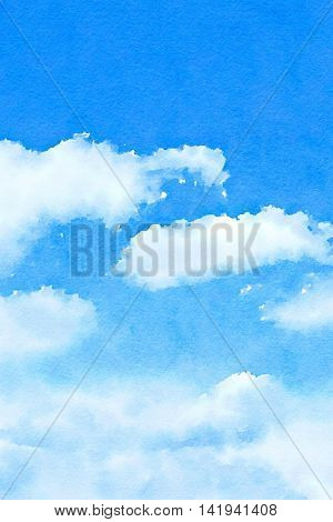 Digital watercolour of white fluffy clouds on blue sky.
