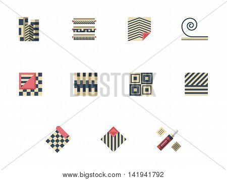 Rolls and samples of linoleum. Quality floor covering materials for modern interior. Flooring services, construction and renovation. Set of flat color style vector icons.