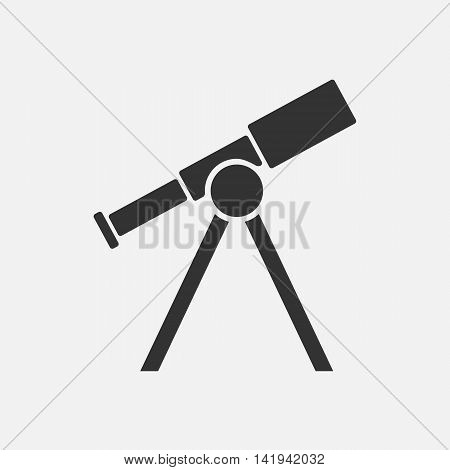 Telescope icon. Silhouette flat design vector illustration