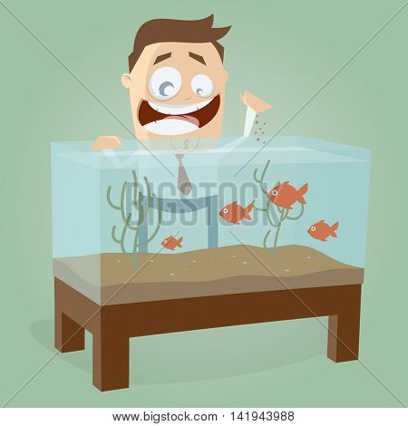 aquarium fishes hobby man clipart