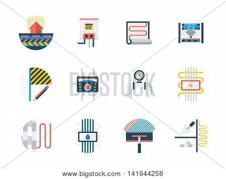 Home heating system and appliances. Warm floor installation in house renovation. Electric, water and radiant heated floor. Set of flat color style vector icons.
