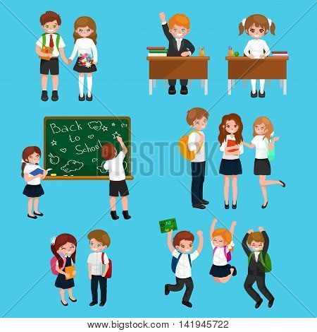 vector illustration of happy children doing different fun activities at school like painting, studying, learning and jumping