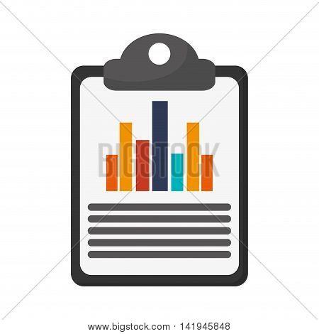 flat design graph chart on clipboard icon vector illustration