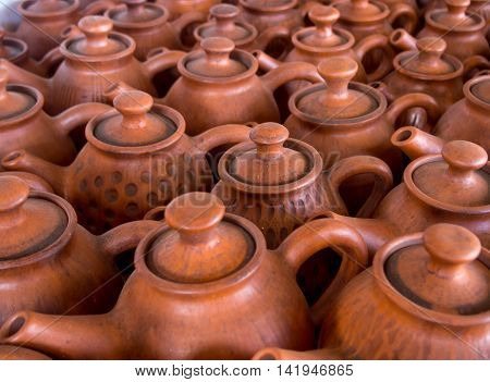Clay tea pots are on display pottery