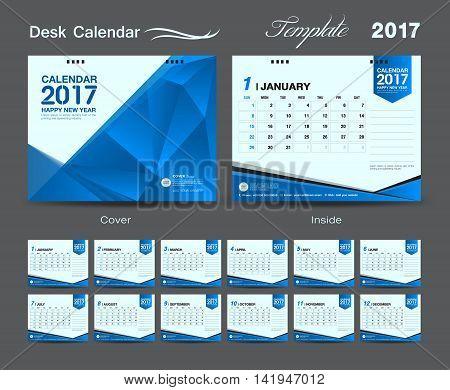 set Blue Desk Calendar 2017 template design, cover Desk Calendar, flyer design