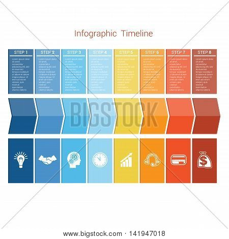 Template Timeline Infographic colored arrows numbered for eight position can be used for workflow banner diagram web design area chart